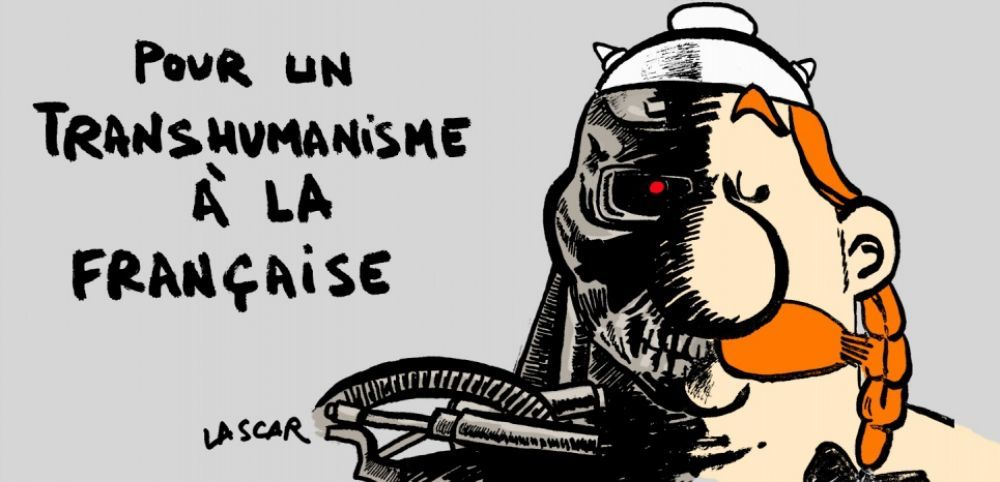 Humour dessin caricature transhumanisme france AFT
